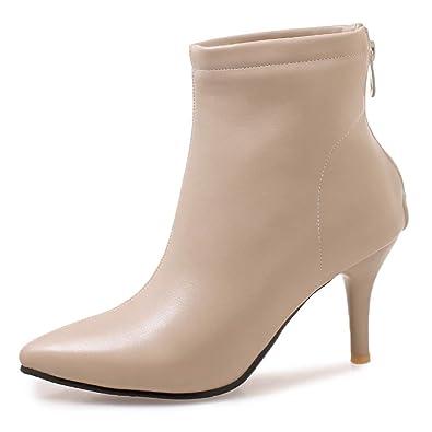 8380e09114c9c OALEEN Bottines Femme Enfiler Sexy Talon Aiguille Zip Effet Cuir Chaussures  Boots Pointu Beige 32