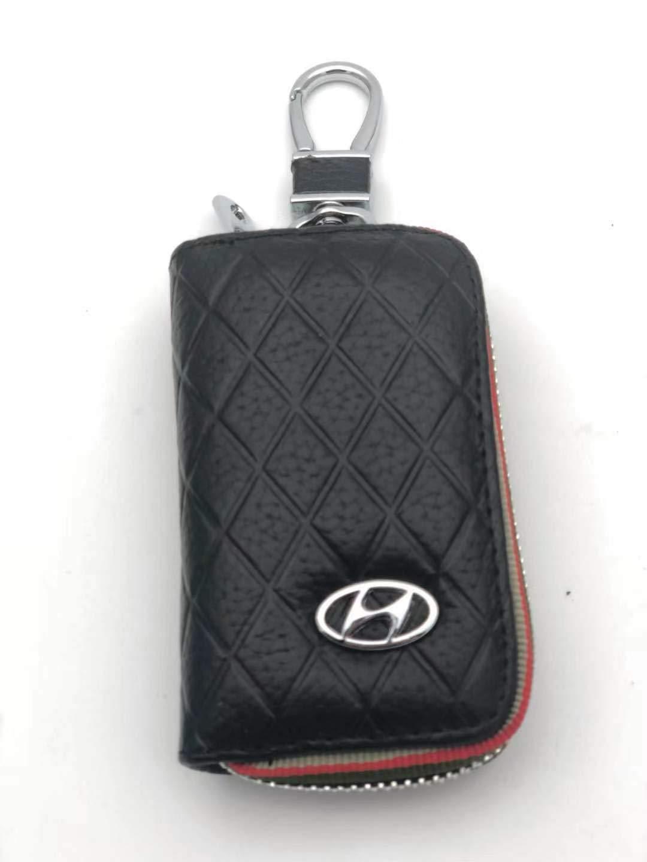 Black DEFTEN Hyundai Premium Leather Car Key Chain Coin Holder Zipper Case Remote Wallet Bag Suitable for All Hyundai Models