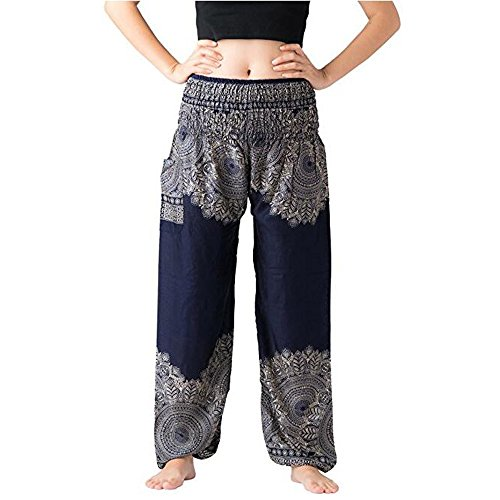 Waist Yoga Smock Dark Pants Hippy Trouser Thai Xmiral Harem Festival Women Trousers Blue2 Men Pants High Boho gO4OwTqF