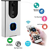 Wi-Fi Enabled Video Doorbell | Wireless Doorbell Camera, Battery Powered Smart Home Security Camera, HD720p Video, Smart Motion Detention, Tamper Alarm, Infrared Night Vision (Silver)