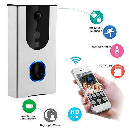 B&w Pir Camera - Wi-Fi Enabled Video Doorbell | Wireless Doorbell Camera, Battery Powered Smart Home Security Camera, HD720p Video, Smart Motion Detention, Tamper Alarm, Infrared Night Vision (Silver)