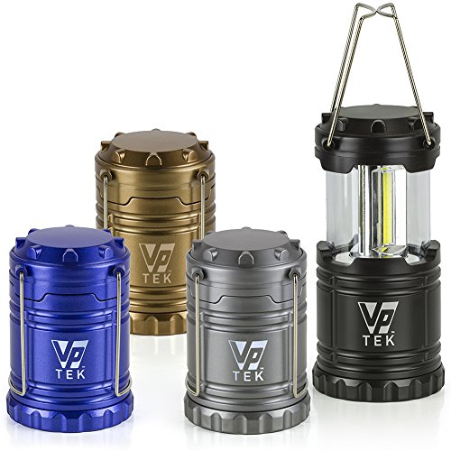 VP TEK Collapsible LED Lantern with Ultra Bright 300 Lumens COB Technology (4 Pack) (Black, Metallic Copper, Cobalt Blue & Metallic Silver)