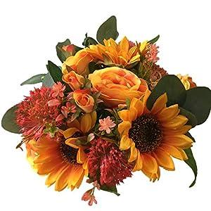 jiumengya ONE Bride Bouquet Artificial Orange Rose Sunflower Green Eucalyptus Leaf Bunch Bride Bouquet Flower Wedding Bridal Bridesmaids Bouquets (Orange)