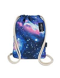 Artone Universe Canvas Drawstring Bag Travel Daypack Sports Portable Backpack Blue