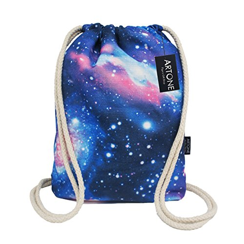 Artone Canvas Drawstring Bag Sports Portable Backpack Blue