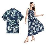 Couple Matching Hawaiian Luau Aloha Shirt Maxi Tank Dress in Palm Leaves in Navy XL