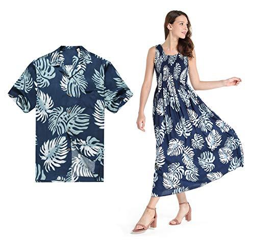 Couple Matching Hawaiian Luau Aloha Shirt Maxi Tank Dress in Palm Leaves in Navy XL by Hawaii Hangover