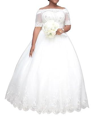 Dreamdress Women\'s Plus Size Wedding Dresses Half Sleeve Lace ...