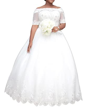 Dreamdress Women s Plus Size Wedding Dresses Half Sleeve Lace Bridal Ball  Gowns (6 a0fb5e284