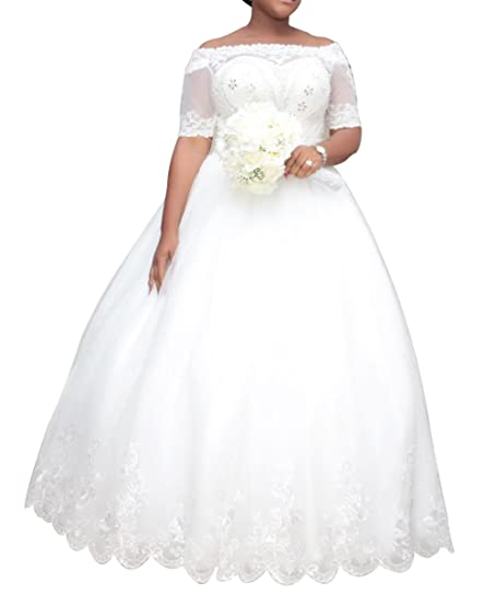 Dreamdress Womens Plus Size Wedding Dresses Half Sleeve Lace Bridal Ball Gowns