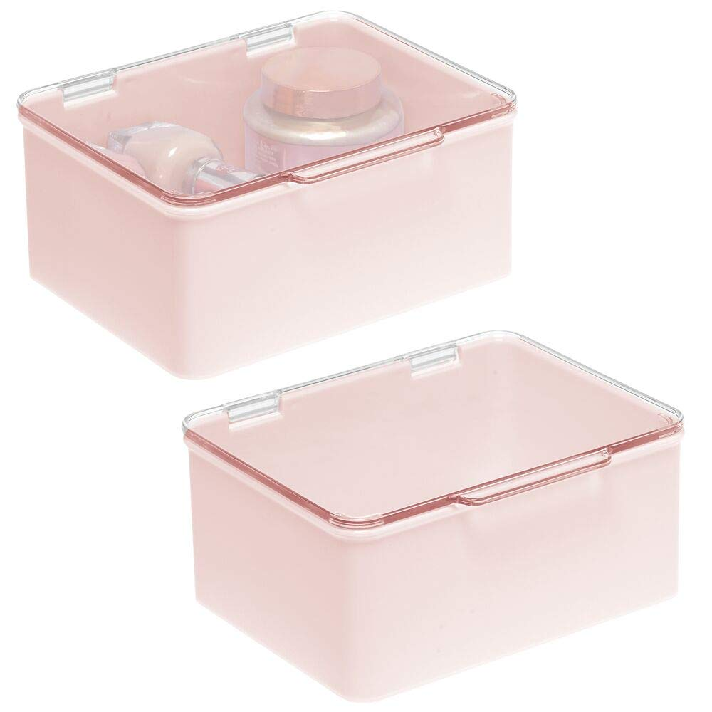 mDesign Stackable Bathroom Vanity Countertop Storage Cosmetic Organizer Box with Hinged Lid for Makeup, Beauty, Hair, Nail Supplies - Light Pink/Clear