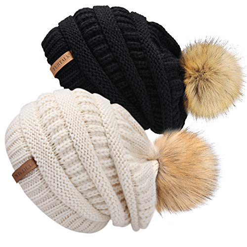 Womens Winter Knit Beanie Hat Skull Cap Slouchy Beanie Pom Pom Hats for Women (Girls Crocheted Dress)