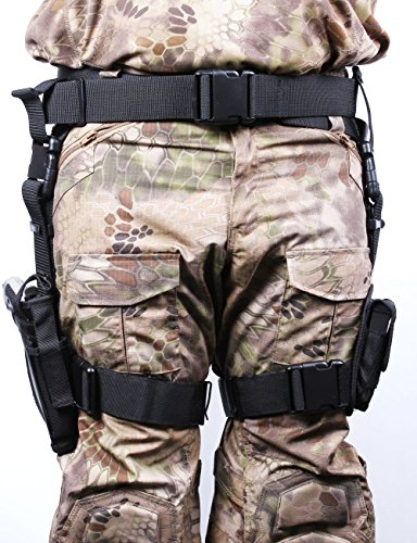 Vivoi Adjustable Tactical and Airsoft Drop Leg Gun Holster with Magazine Pouches (3) Pistol Pouch (Also Good for Halloween Cosplay Costume)