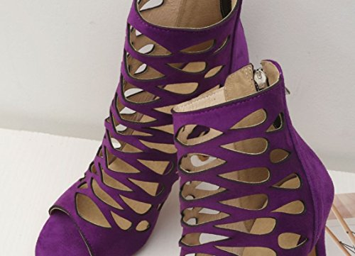 Con Bocca A Nero Pesce Sandali Viola 36 Alti 37 Misura Tacco Marrone Cava Eleganti Colore JC Classici Purple Tacchi Alto Di Xx5pgq