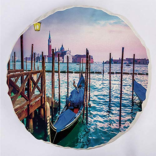 YOUWENll Round Decorative Throw Pillow Floor Meditation Cushion Seating/Dreamy Evening View of Famous Italian City Architecture Water and Gondolas/for Home Decoration 17