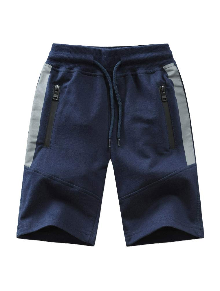 Mallimoda Boy's Knit Cotton Sweatpants Casual Sport Drawstring Waist Trousers Short Style 1 Navy 11-12 Years