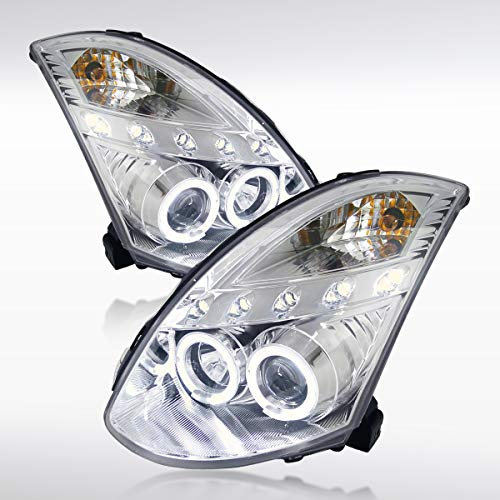Autozensation For Infiniti G35 2Dr Coupe Chrome Halo LED Projector Headlights Pair ()