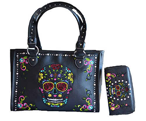 (sugar skull day of the dead embroidery gun concealed carry handbag purse set)