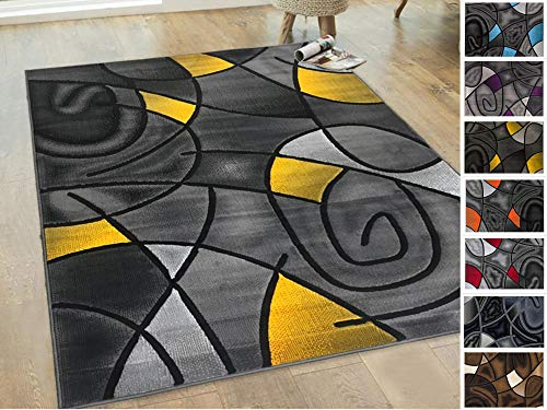 Handcraft Rugs - Yellow/Grey/Silver/Black/Abstract Area Rug Modern Contemporary Circles and Wave Design Pattern ()