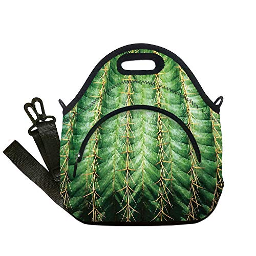 Insulated Lunch Bag,Neoprene Lunch Tote Bags,Cactus Decor,Photo of Cactus with Spikes Plant Flower Fruit from Close Zoom Shoot with Spikes,Green,for Adults and children