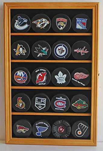 20 Hockey Puck Display Case Cabinet Holder Wall Rack 98% UV Protection (Oak (Puck Shadow Box)