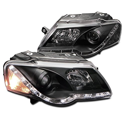 ZMAUTOPARTS VW Passat B6 DRL LED Projector Headlight Lamp Black Daytime Running (Projector Passat)
