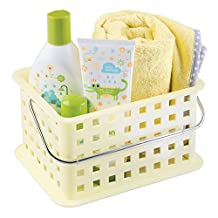 mDesign Baby Nursery Storage Basket for Diapers, Wipes, Lotion, Stuffed Animals - Small, Lemon Yellow