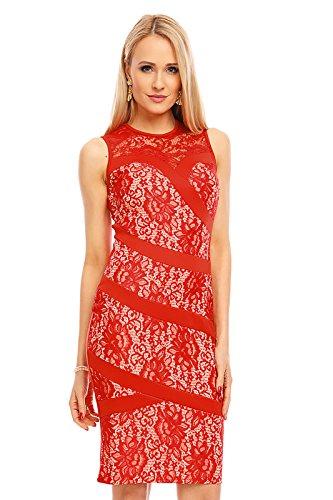 Mayaadi Damen Kleid Spitze Cocktailkleid Abendkleid Partykleid Knielang Sommerkleid H94-9885 Rot DNioj9S