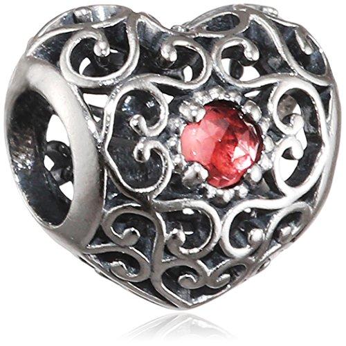 Pandora 791784gr January Signature Heart Garnet Charm