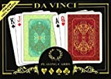 Da Vinci Persiano Italian 100-Percent Plastic Playing Cards (2-Deck Set Poker Size with Hard Shell Case and 2 Cut Cards, Regular Index), Green/Red