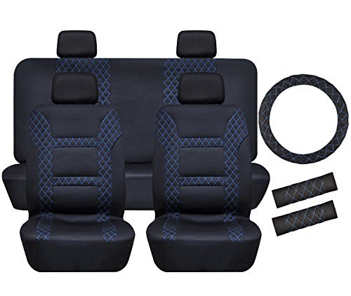 Full Set Car Seat Covers Universal Front Rear Seat Cover Set 11 Pcs Seat Belt Pad Protectors for Car SUV Truck (Black with Blue Lines)