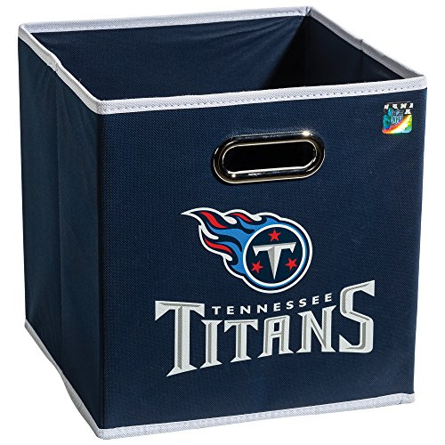 Franklin Sports NFL Tennesee Titans Fabric Storage Cubes - Made To Fit Storage Bin Organizers (11x10.5x10.5