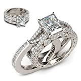 Nihewoo Women Wedding Rings Platinum or Gold Plated Sterling Silver Round Ring Zirconia Antique Ring Set