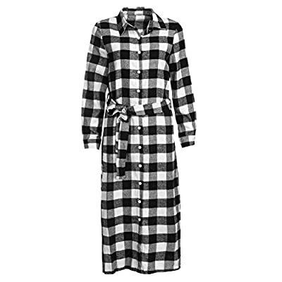 FINIFLY Europe Women Casual Plaid Polo Neck Long Sleeve Shirt Dress with Waistband