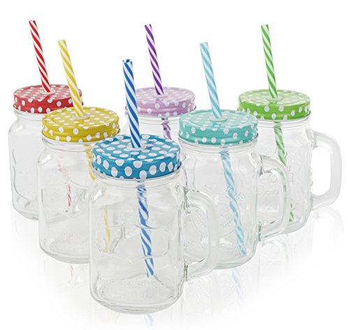 Golden Spoon Glass Drinking Jar/Mug with Handle, Stainless Steel Lid, Stainless Steel Colored Lid, Colored Straws, Regular Mouth, Dishwasher Safe, BPA Free, Set of 6 (16 oz/Pint)