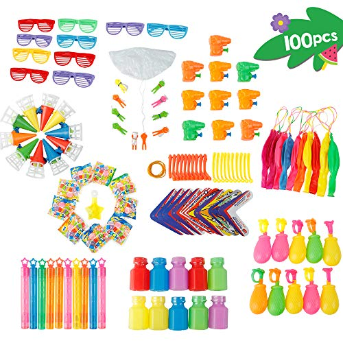 Joyful Toys Beach Party Favors 100Pcs - Summer Fun Toy Pool Party - Fun Beach Toys For Kids | Parachute | Bubble wand | catch bubble | Sunglasses | water guns | Punch balloon | shooter plane | bubble bottle