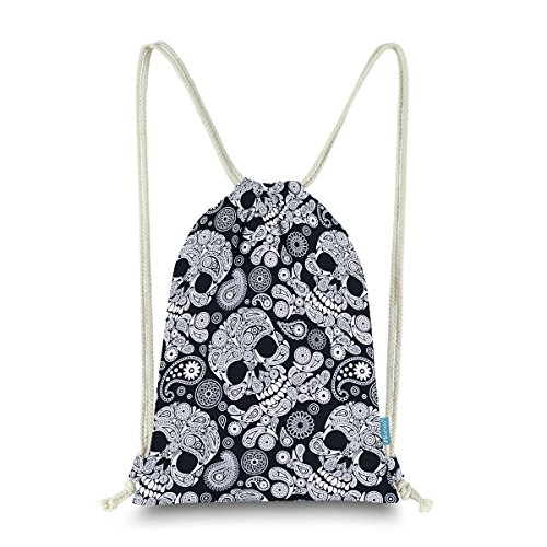 - Miomao Drawstring Backpack Gym Sackpack Paisley Style Sinch Sack Fleece Cinch Pack Sport String Bag With Packet Halloween Gift Beach Bag 13 X 18 Inches Skull