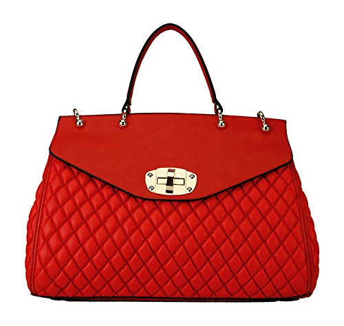 rimen-co-quilted-turn-lock-adjustable-strap-tote-handbag-red-tt-1770