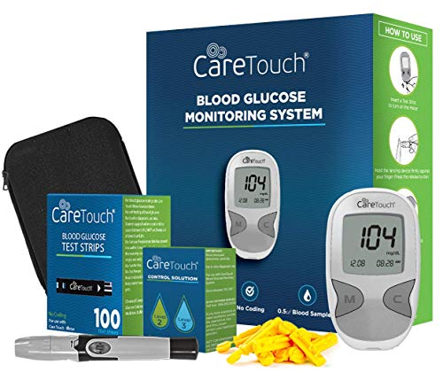 Care Touch Diabetes Testing Kit – Care Touch Blood Glucose Meter, 100 Blood Test Strips, 1 Lancing Device, 30 Gauge Lancets-100 Count, Control Solution and Carrying Case