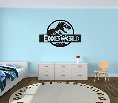 Large Personalised Jurassic World Bedroom Wall Sticker Amazonco - Jurassic world wall decals
