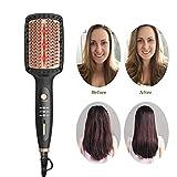 Hair Straightener Brush Ceramic Salon Professional Ionic Hot Air Brush & Volumizer Lightweight