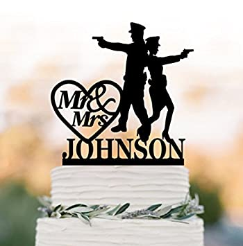 Amazon Com Police Bride And Groom Wedding Cake Toppers Letter