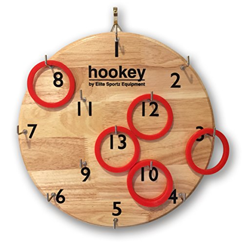 Elite Hookey Ring Toss Game - Safer Than Darts, Just Hang it on a Wall and Start Playing. Fun Outdoor Games for Family. Its Beautifully Finished and Easy to Set-Up for a Man Cave, Home or Office.