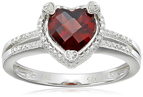 - Lavari - 8MM Heart Red Ruby Diamond Accent 925 Sterling Silver Ring Size 6