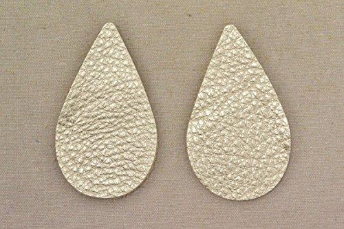 12pk-Leather Teardrop Large Die Cut Champagne Metallic Vegas DIY (Die Cut Leather)