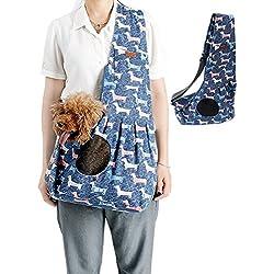 Pet Sling Carrier, Kuoser Hands-free Dog Pet Sling Bag Shoulder Carry Bag Sling Pet Carrier Pouch with Extra Pocket, Adjustable padded Single Shoulder Carry Tote Handbag for Pets blue dog