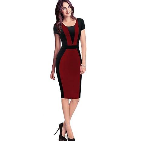 cheap for discount 5fa36 44eb6 DaBag - Vestito da donna aderente sulla vita, a maniche ...