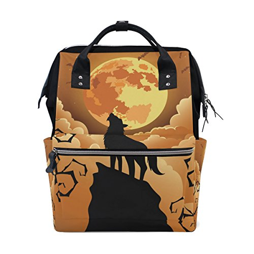 School Travel Backpack Halloween Wolf Moon Laptop Daypack Large Diaper Bag Doctor Bag