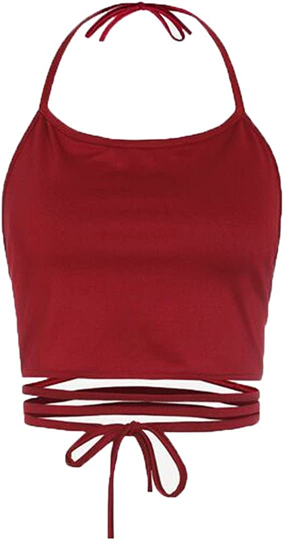 YEBIRAL Verano Chalecos de Mujer Sexy Casual Tirantes Camisetas con Cordones Halter Sin Mangas Color Sólido Blusa Tops Camisa T Shirt Blusas(Talla única, Rojo): Amazon.es: Ropa y accesorios