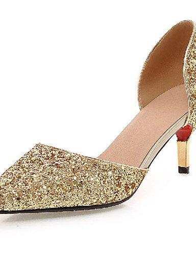 GGX/ Damenschuhe-High Heels-Outddor / Büro / Lässig-Kunststoff-Stöckelabsatz-Absätze-Schwarz / Weiß / Silber / Gold silver-us8 / eu39 / uk6 / cn39